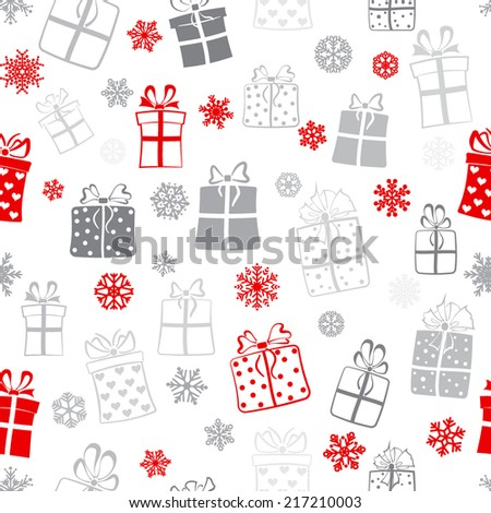 Seamless pattern of gift boxes and snowflakes, red and gray on white - stock vector