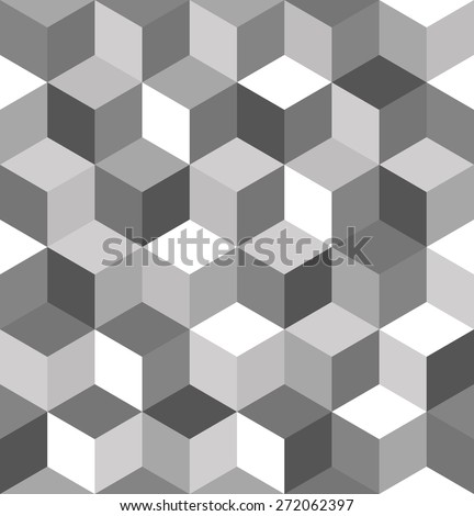 Seamless pattern of gray cubes. Endless black and white cubic background. Cube pattern.  Abstract decoration.  - stock vector