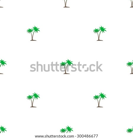 Seamless pattern of green and brown small palm trees on a white background. - stock vector