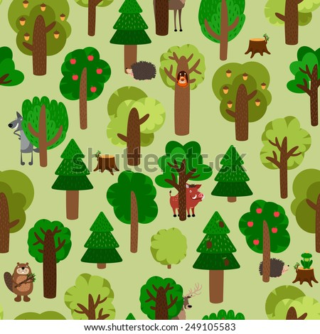 Seamless pattern of green trees with animals. Hedgehog, wild boar, squirrel, wolf, beaver and deer. Vector illustration - stock vector