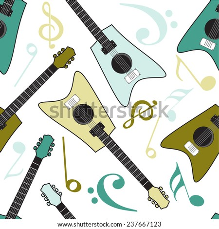 Seamless pattern of guitar with musical notes on beige background. - stock vector