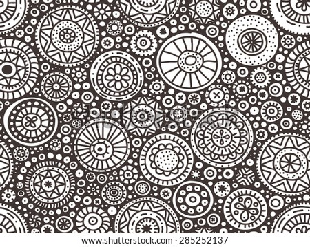 Seamless pattern of hand drawn doodle circles - stock vector
