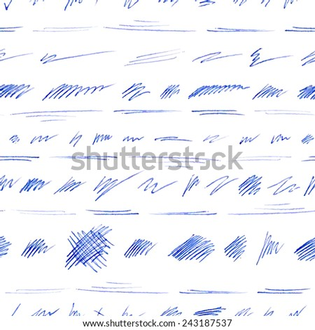 Seamless pattern of hand-drawn pen strokes and scribbles. Various shapes on white background. Vector illustration. - stock vector