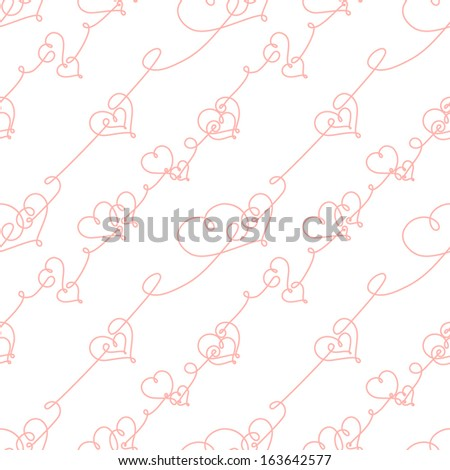 Seamless pattern of hearts and scrolls; romantic vector background - stock vector