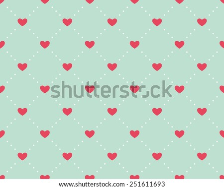 Seamless pattern of hearts on a light green background for Valentine's Day - stock vector