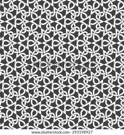 Seamless pattern of intersecting infinities with swatch for filling. Celtic chain mail. Fashion geometric background for web or printing design. - stock vector