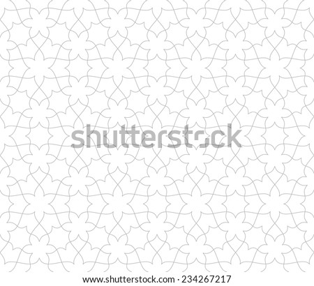 Seamless pattern of intersecting thin grey lines on white background. Abstract Vector Illustration - stock vector