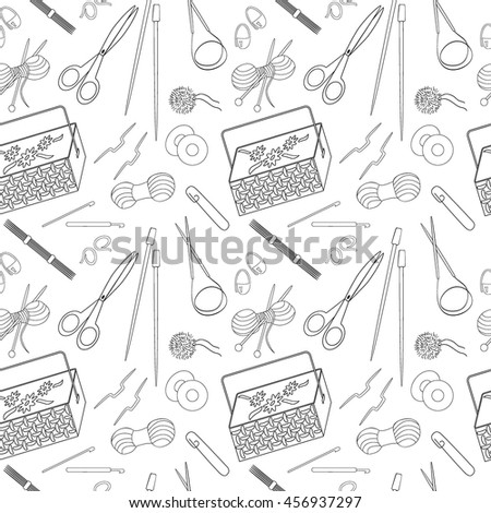 Seamless pattern of knitting and crafts icons. Knitting needles, yarn, thread, crochet hooks, basket. Background for use in design, web site, packing, wallpaper, textile. Vector illustration. - stock vector