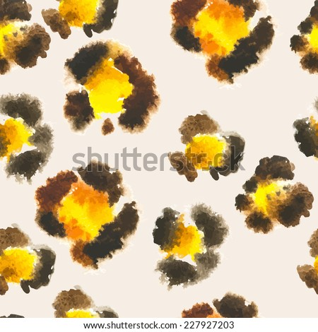 Seamless pattern of leopard spots. Painted by hand in watercolor leopard skin - stock vector