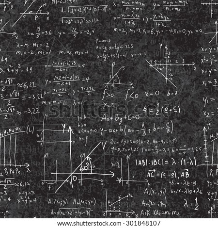 Seamless pattern of mathematical operations and elementary functions, endless arithmetic on school boards. Black Background. Writing on textured  black chalkboard. - stock vector