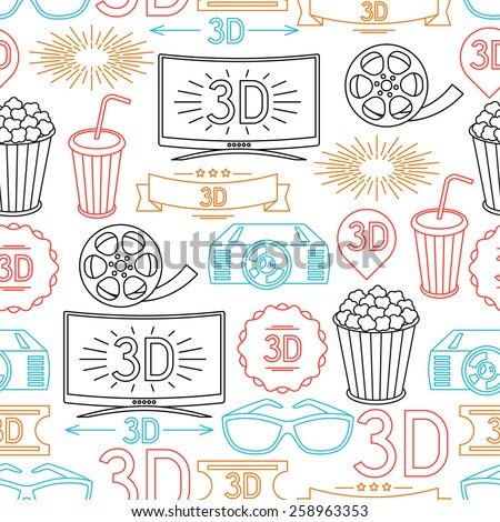 Seamless pattern of movie elements and cinema icons. - stock vector