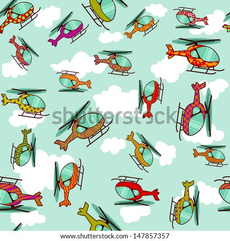 seamless pattern of multicolor, patterned, decorated helicopters - stock vector