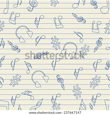 Seamless pattern of musical instrument and notes. - stock vector