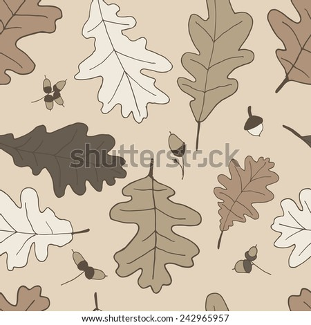 Seamless pattern of oak leaves and acorns in brown tones - stock vector