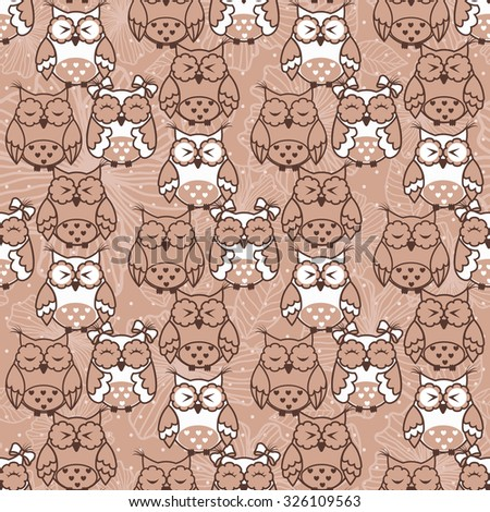 Seamless pattern of owls on beige background - stock vector