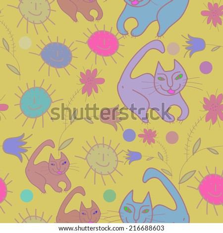 Seamless pattern of pale floral motifs and  colored cats, sun, circles, smile on a pale yellow background. Handmade. - stock vector