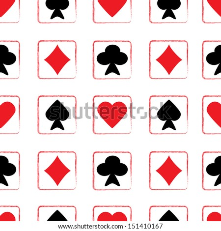 Seamless pattern of playing cards - stock vector