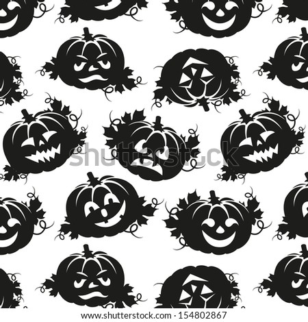 seamless pattern of pumpkins for Halloween black and white - stock vector