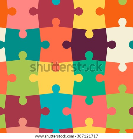 seamless pattern of puzzle - stock vector