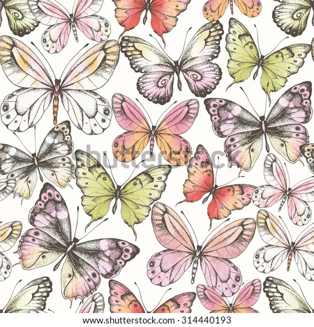 Seamless pattern of  randomly distributed butterflies with watercolor texture, vector illustration in vintage style. - stock vector