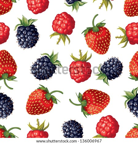 Seamless pattern of realistic image of delicious ripe berries - stock vector