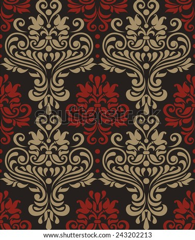 Seamless pattern of red and beige colors on black background in the style of baroque - stock vector