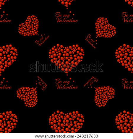 Seamless pattern of red bubble hearts and the words Valentine's Day on a black background for design, gift wrapping, covers, textiles, craft, etc. - stock vector