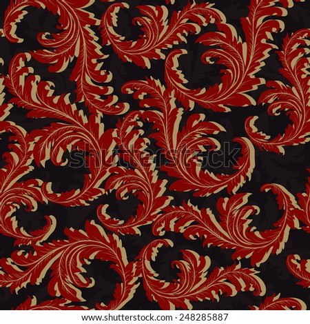 Seamless pattern of red colors on black background - stock vector