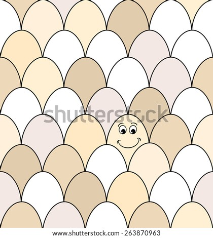 Seamless pattern of rows of brown and white chicken eggs. One has a smiley face drawn on it. EPS10 vector format - stock vector