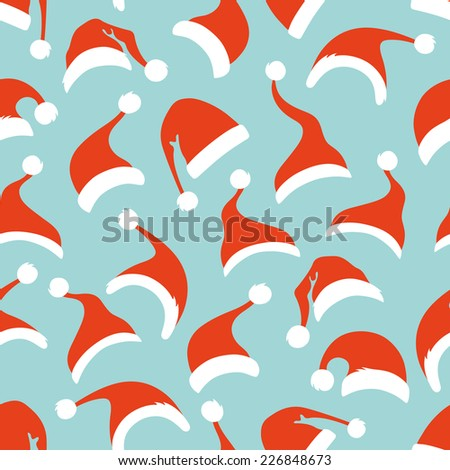 Seamless pattern of Santa hats. Christmas background for your design.  - stock vector