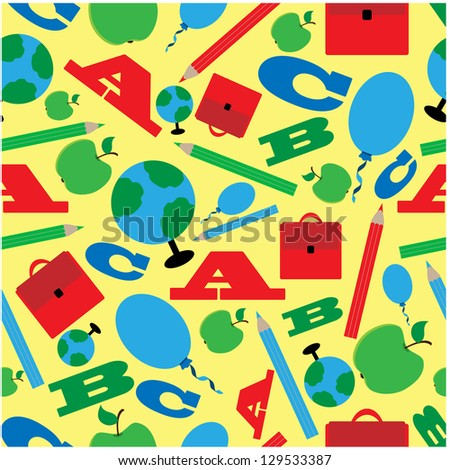 seamless pattern of school supplies - stock vector