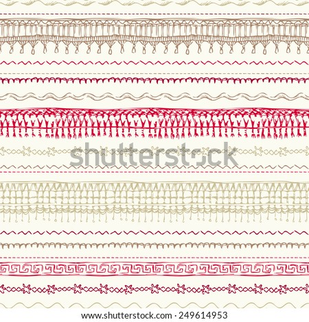 Seamless pattern of sewing stitches. Hand-drawn seams background for your design. - stock vector