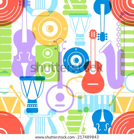 Seamless pattern of silhouette musical instruments. Vector illustration - stock vector