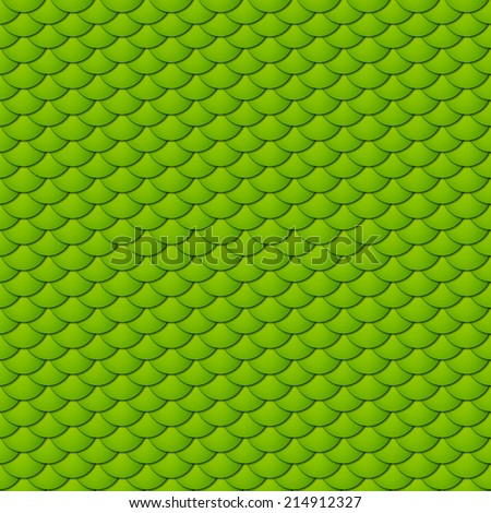 Seamless pattern of small colorful green fish scales forming a pattern of reptile and similar animal skin. - stock vector