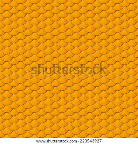 Seamless pattern of small colorful yellow fish scales forming a pattern of reptile and similar animal skin. - stock vector