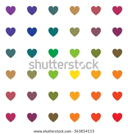 Seamless pattern of small rainbow colored hearts isolated on the white background. - stock vector
