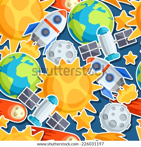 Seamless pattern of solar system, planets and celestial bodies. - stock vector