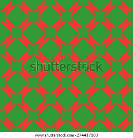 Seamless pattern of squares in circles goes into the distance to infinity illusion imagination bright dark green and red - stock vector