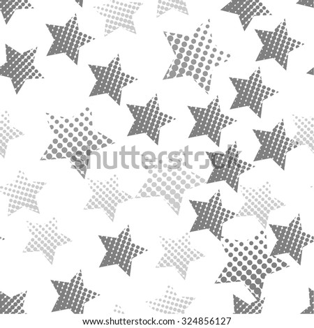 Seamless pattern of stars in the halftone style. - stock vector