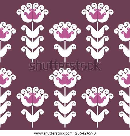 Seamless pattern of stylized geometric flowers - stock vector
