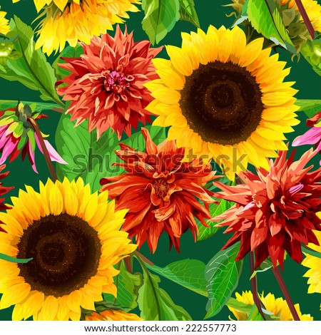 seamless pattern of sunflowers with  dahlias - stock vector
