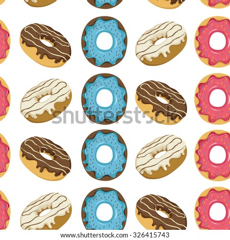 Seamless Pattern Of Sweet Donuts With Delicious Topping - stock vector