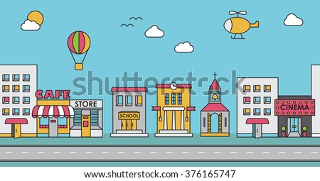 Seamless pattern of the buildings. Background for game. Cafe, cinema, store, church, apartment house,cottage,school, Hall, factory - stock vector