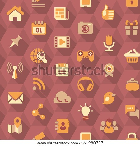 Seamless pattern of the flat social networking icons in purple hexagons with long shadows - stock vector