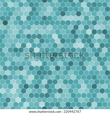 Seamless pattern of the hexagon mosaic tiles - stock vector