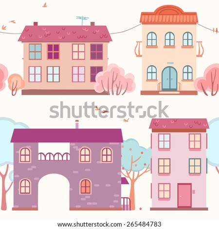 seamless pattern of the houses and trees - stock vector