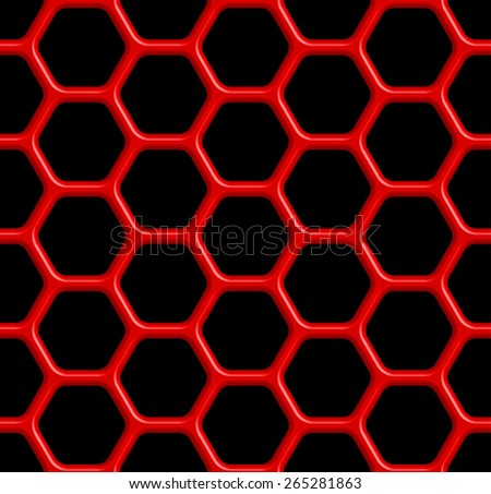 Seamless pattern of the red abstract hexagonal grid on black - stock vector