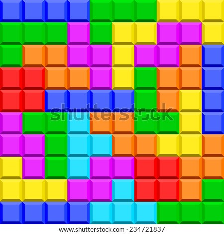 Seamless pattern of the tetris game elements - stock vector