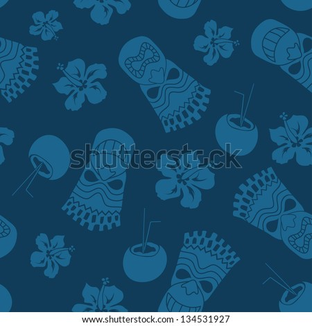 Seamless pattern of tiki, coconut and hibiscus on a blue background - stock vector