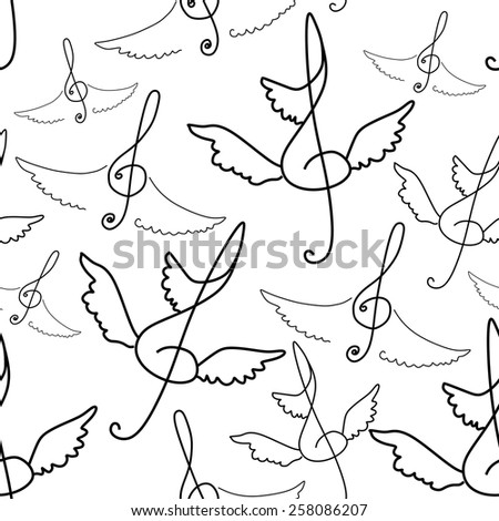 Seamless pattern of treble clef with wings. Vector music background. - stock vector